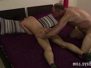 Balding gay dad slams the asshole of a cute boy