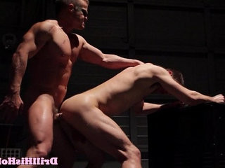 Muscular bottom is cock railing top