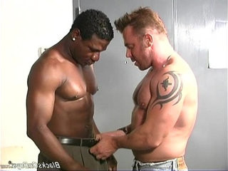 Muscular white stud makes love with black man