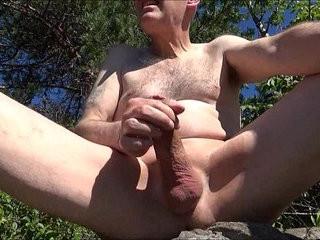 Pervert ulf larsen pee wank suck while exhibiting himself outdoor