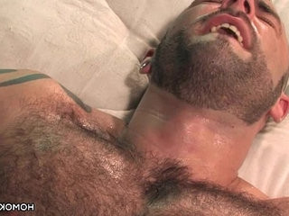 Hairy muscular guys having hookup