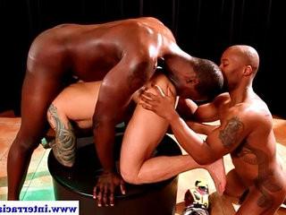 black faggotranssexual in kinky threeway rimming white ballsack